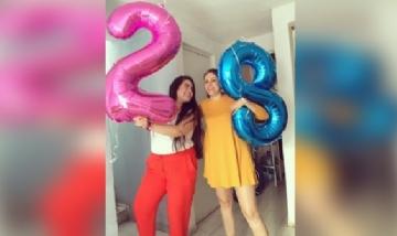Ceci y Adriana juntas de festejo en México.