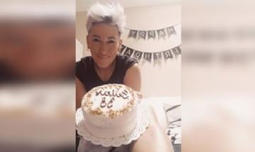 Ari festejando su cumpleaños en Madrid, España.