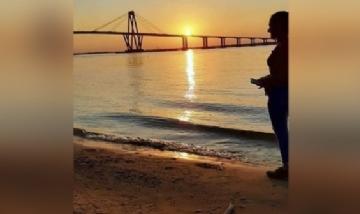 Yani disfrutando de la Costanera en Corrientes.