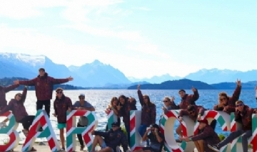 Renata y sus compañeros de promo en Bariloche.