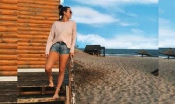 Paloma disfrutando de sus vacaciones en Pinamar .-